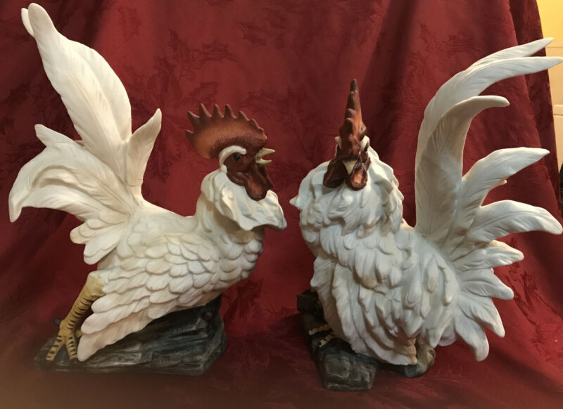 """Pair Of KPM Large Porcelain Rooster Figurines 12"""" Tall"""