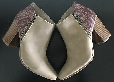 Womens Parker & Sky Boots Classic Short tan tapestry paisley booties❤️size 8.5