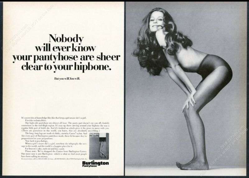 1970 Burlington pantyhose sexy woman photo vintage print ad