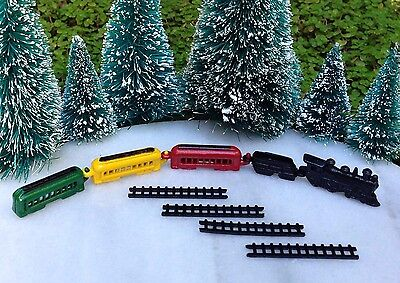 Miniature Dollhouse CHRISTMAS VILLAGE Fairy Garden ~ TINY Metal Train Set ~ NEW - Fairy Train Set
