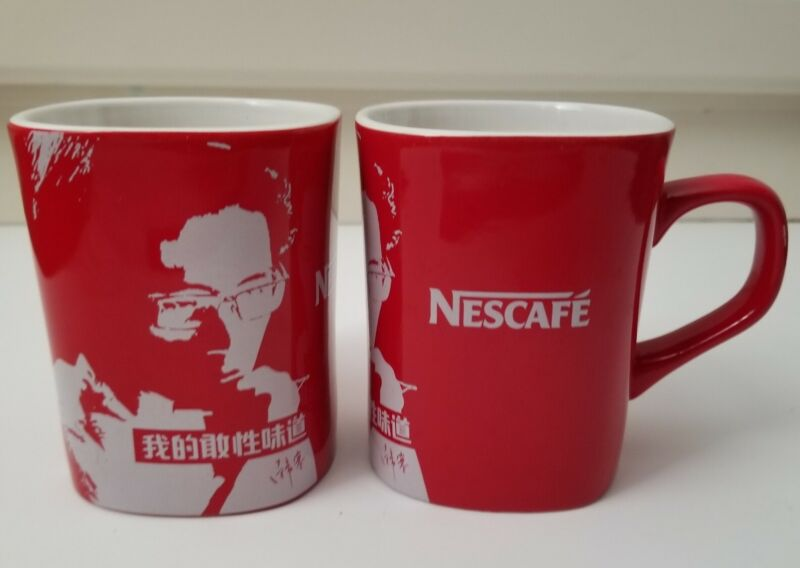 NESCAFE COFFEE Red Mug Cup 2012 Nestle China Limited Edition Set of 2