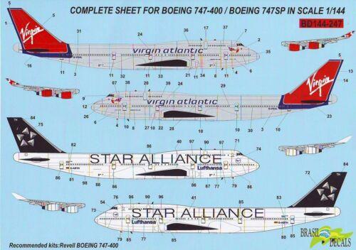 Boeing 747 Virgin Atlantic + Lufthansa + Alliance Decals BD144-247 1/144