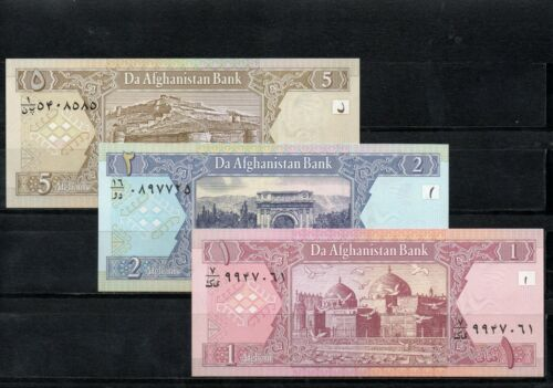 AFGHANISTAN Middle East UNC 3 piece set of 1 2 5 Afghanis p~64,65,66