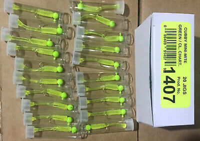 NEW CUBBY MIni-Mite 1//32oz Jig 20PK REFILL Glow//Glow 1413