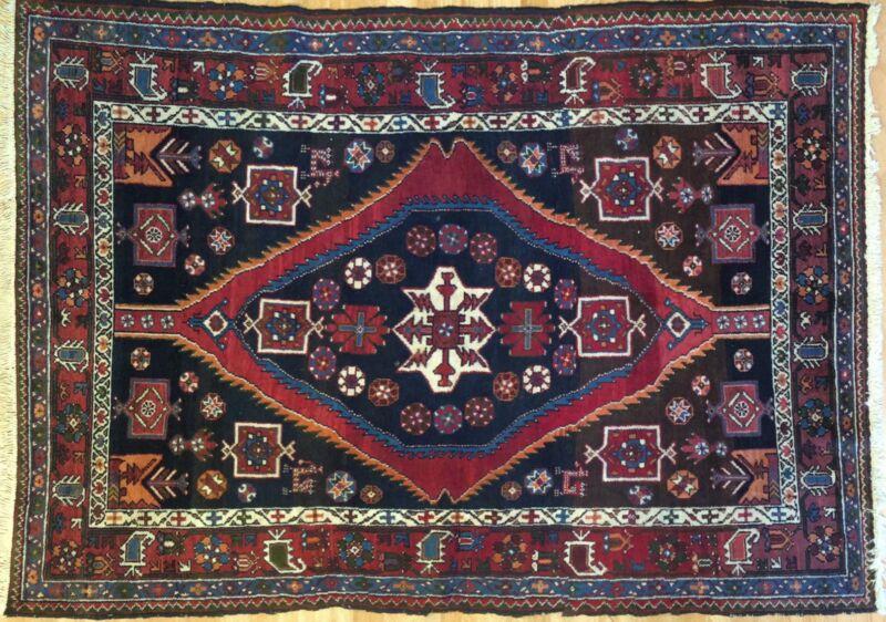 Tremendous Tribal - 1940s Antique Oriental Rug - Nomadic Carpet - 4.8 X 6.7 Ft.