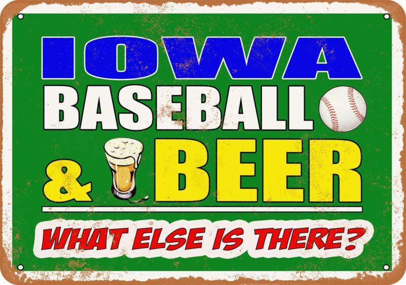 Metal Sign - Iowa Baseball and Beer -- Vintage Look