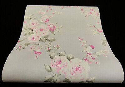 05653-20-519) moderne Papier Tapete mit einem schicken Blumen-Design grau rosa
