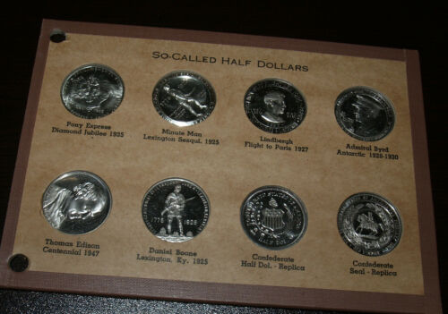Collection of 8 So-Called Half Dollars Tokens in Wayte Raymond Folder