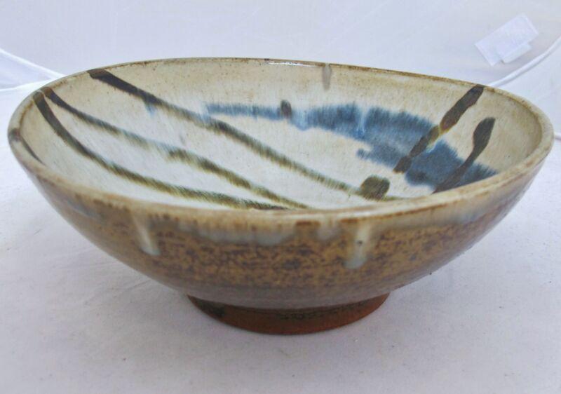 "Antique ? Japanese Hand Made Studio Art Pottery Ceremonial Tea Bowl (8.05"" long)"