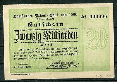 Hamburg  20 Milliarden  Mark  Notgeld Serie kompl. Privat Bank von 1860