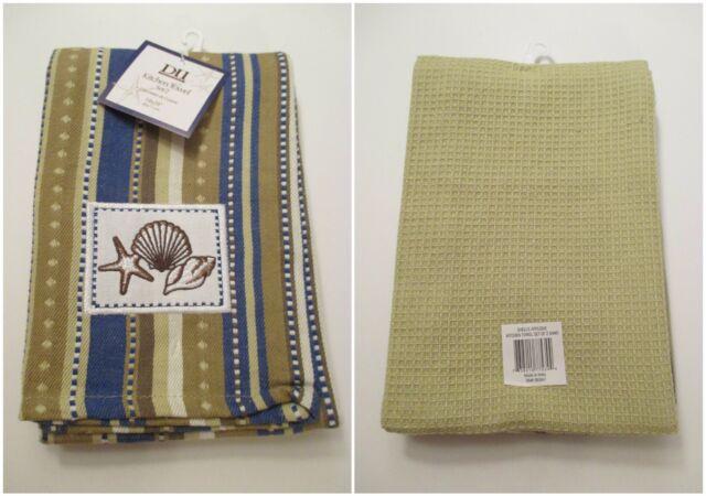 DII Set of 2 Seashell Ocean Beach Kitchen Hand Towel Striped Shell ...