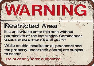 "7"" x 10"" Metal Sign - Warning Restricted Military Area 51 - Vintage Look Reprodu"