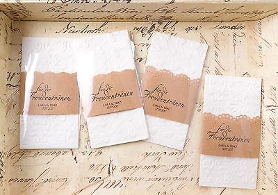Freudentränen Taschentücher prägung + personalisierte Hochzeit Banderole kraft