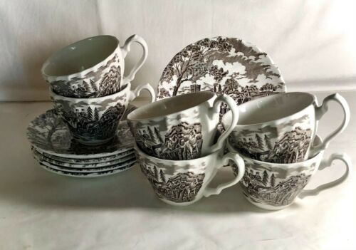 6 Myott Brown Royal Mail Cups & Saucers