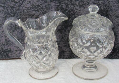 c 1850 Antique Pittsburgh McKee Four Petal Flint Glass Creamer & Sugar Bowl