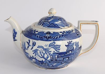 Large Capacity Vintage Burleigh Ware WILLOW Teapot - 1.4 Litres - VGC