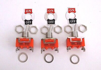 3 BBT Marine Grade On/Off 20 amp 12 volt Heavy Duty Toggle Switches