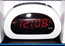 Mainstays LED Digital Alarm Clock Electric w/ Battery Backup Snooze Small White