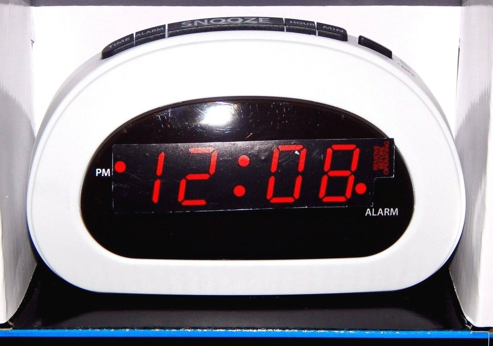 Mainstays Digital Alarm Clock Electric w/ Battery Backup, Snooze, Sleep White