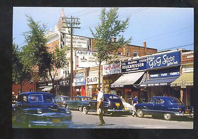 HUNTINGTON NEW YTORK DOWNTOWN STREET SCENE OLD CARS STORES POSTCARD (Huntington Stores)