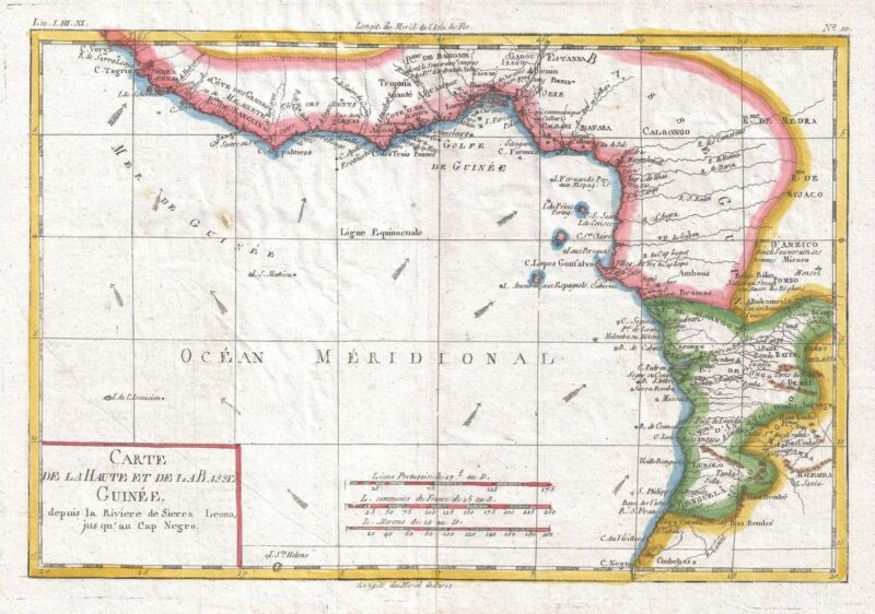 1780 Raynal and Bonne Map of Guinea