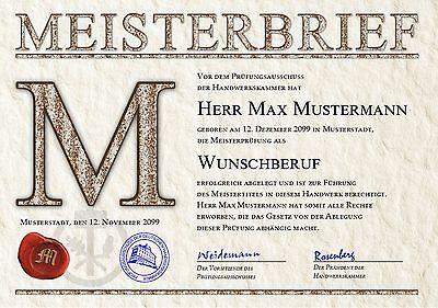 Meisterbrief Meistertitel Meisterurkunde Meisterdiplom Urkunde  - UK-682