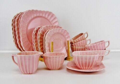 "25 Piece ""Sebring"" Pastel Pink Glazed Ceramic Square Fluted Luncheon Set (USA)"
