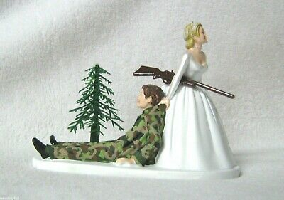 Wedding Party Reception Camo Groom Military Hunter Hunting Humorous Cake Topper