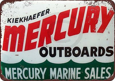 Mercury Outboard Motors Marine Sales Vintage Reproduction Sign 8 x 12