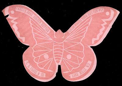 LAKE MILLS, WIS DIE CUT BUTTERFLY TRADE CARD, FARGO'S JUNE GOLDEN BUTTER  Z826 - Butterfly Trade