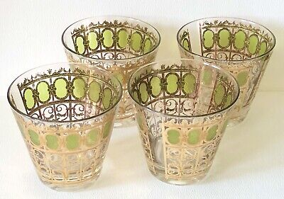 Vintage MCM Culver x4 EMERALD SCROLL DOUBLE OLD FASHIONED 22K Gold Green Glasses