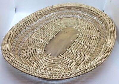 Wicker / Rattan Oval Basket w/ wood panel in bottom. Boho - Wall Hanging