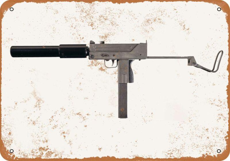 Metal Sign - Gun Art - Ingram M10 Submachine Gun -- Vintage Look