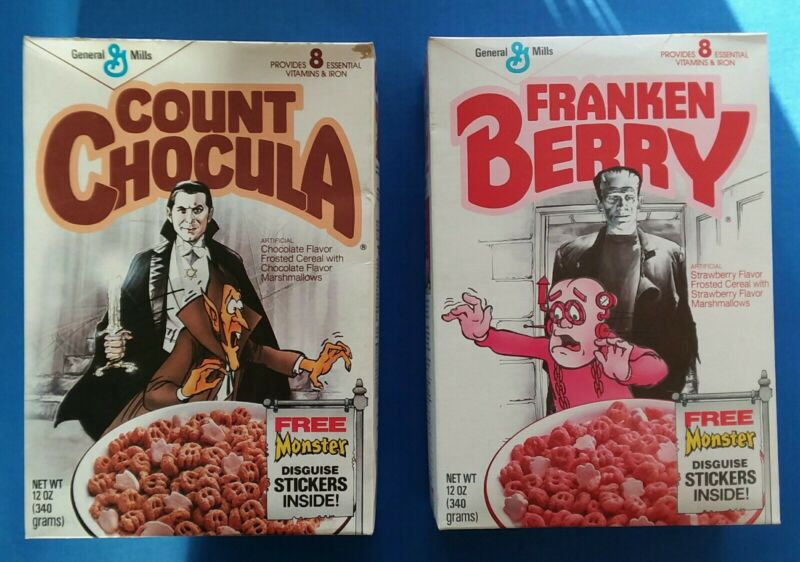 Count Chocula Franken Berry FULL cereal boxes Karloff & Legosi recalled box 1987