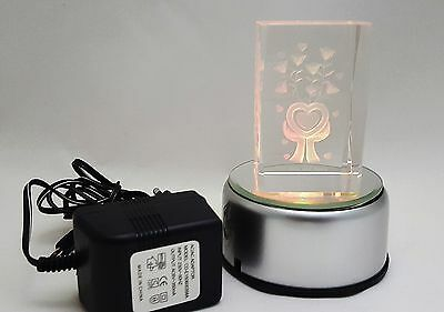 LED Leuchtsockel 4LED für 3D Laser Kristallquader Glasblock Quader Netz/Batterie ()