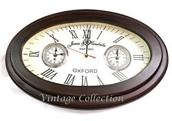 Antique Wooden Oval Shape Wall Clock Vintage Nautical World Time Clock Decor