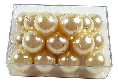15 große Perlen 20mm champagner Dekoperlen Hochzeit Wachsperlen zum Auffädeln
