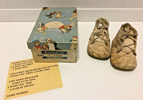 Vintage 1940 Brown-Bilt Leather Lace-Up Baby Shoes-Original Box-Duplicate of Ori
