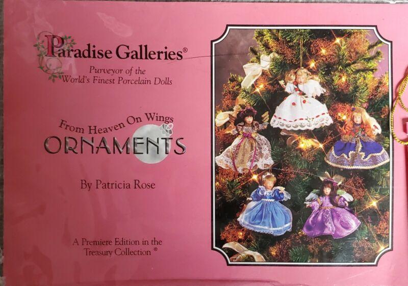 Vintage Set of Five Porcelain Angel Dolls Ornaments by Paradise Galleries