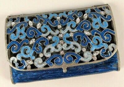 Vintage Business Card Holder Rhinestones Enamel Gems Open Metalwork Filligree