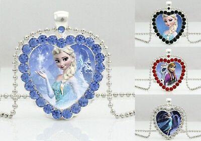 Neue Frozen Halskette Kinder Mädchen Königin Elsa Prinzessin Anna Schmuck Strass