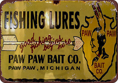 Paw Paw Bait Co. Fishing Lures reproduction metal tin sign 8 x 12