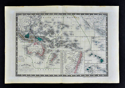 1862 Ansart Map Oceania Australia New Holland Zealand Hawaii Tahiti Fiji Islands