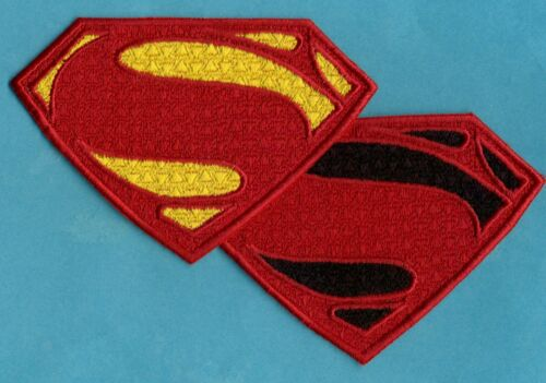 """3"""" x 4.5"""" Superman Man of Steel Fully Embroidered Patch -- choice of colors"""
