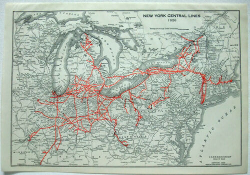 New York Central Lines Railroad - Original 1926 Route Map. Vintage.