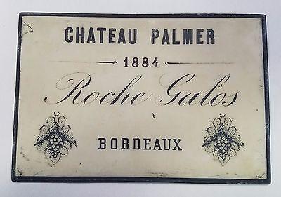 Wine Wall Plaque Bordeaux Roche Galos Chateau Palmer 1884 White Black Hanger  ()