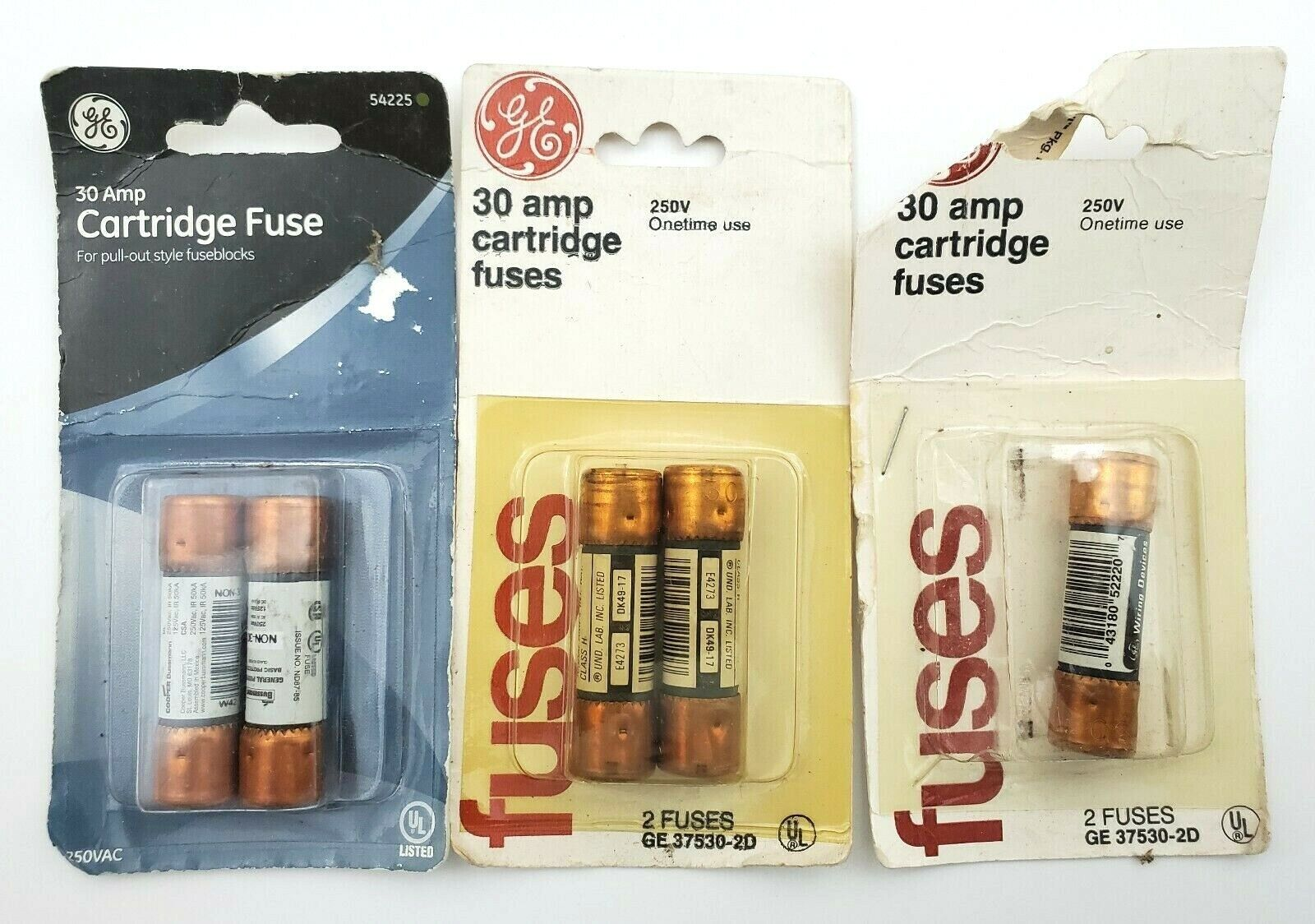Lot Of 5 General Electric Vintage 250V 30 Amp One Time Cartridge Fuses  - $8.99