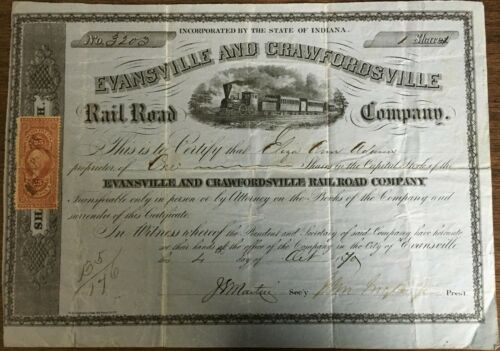 EVANSVILLE & CRAWFORDSVILLE RAILROAD STOCK CERTIFICATE, 1870, WITH OLD TAX STAMP
