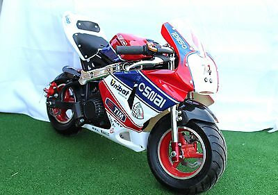 KXD Mini Moto Pocket Bike 50cc Limited Edition Red/White & Blue