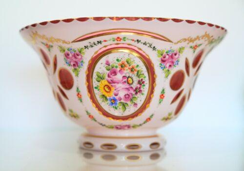 Victorian Bowl Cranberry Casted glass Cut Floral Design Golden Accent Large
